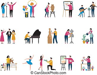 fényképész, vektor, kreatív, művészet, építészmérnök, festő, szobafestő, occupation., művész, betűk, hobbi, táncosok, virágárus, lakás