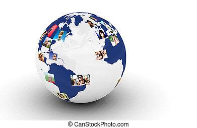 fénykép, földdel feltölt, hálózat, emberek