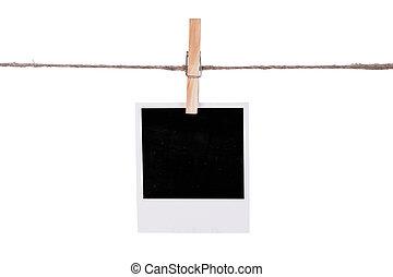 fénykép, függő, pillanat, ruhaszárító kötél, tiszta