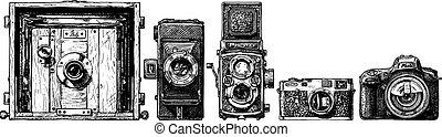 fénykép, fejlődés, cameras, set.