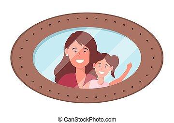 fénykép keret, nő, gyermek