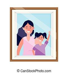 fénykép keret, nő, gyermek, terhes
