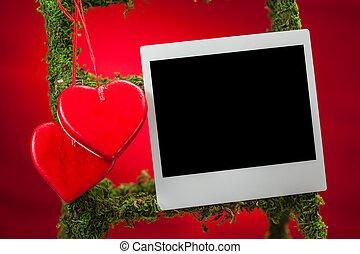 fénykép keret, piros háttér, tiszta