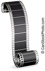 fénykép, meggörbült, ábra, tekercs, vektor, video, háttér, levetkőzik, fehér, vagy, film