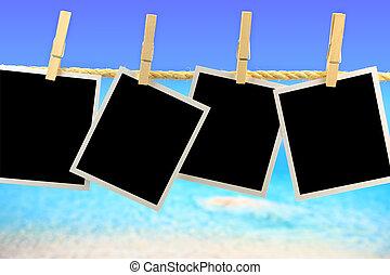 fénykép, odaköt, elülső, tenger, függő, keret