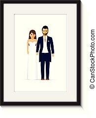 fénykép, párosít, keret, esküvő