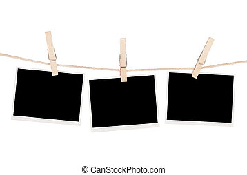 fénykép, tiszta, ruhaszárító kötél, függő