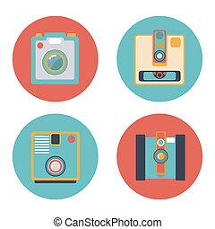 fényképezőgép, állhatatos, ikon