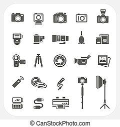fényképezőgép, állhatatos, segédszervek, ikonok