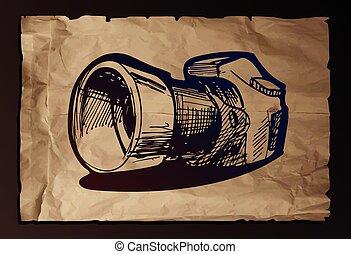 fényképezőgép, dolgozat, öreg, ábra