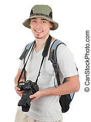 fényképezőgép, fiatal, természetjáró