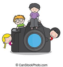 fényképezőgép, gyerekek
