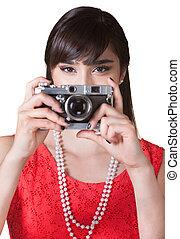 fényképezőgép, hölgy, birtok