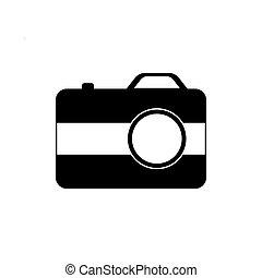 fényképezőgép, ikon, háttér, elszigetelt, fehér