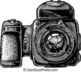 fényképezőgép, közeg, ábra, alak