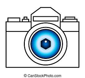 fényképezőgép, szem