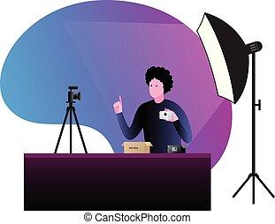 fényképezőgép., vektor, video, illustration., bírálat, blogger