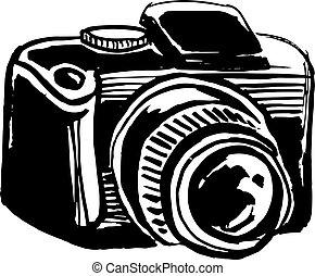 fényképezőgép, visszfény, ábra, tinta