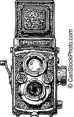 fényképezőgép, visszfény, ábra, twin-lens