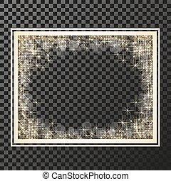 fénylik, -, vektor, arany- háttér, jelkép, fellobbanás, csillaggal díszít, csillogó, keret, csillag, csillagos, reflections., transzparens, téglalap, pattog