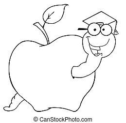 féreg, diák, körvonalazott, alma