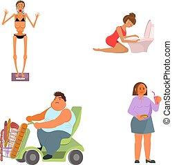 férfiak, étkezési, gyűjtés, összezavarok, nők