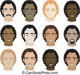 férfiak, afrikai származású, göndör, arc