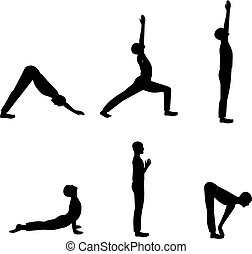 férfiak, beállít, jóga, állhatatos