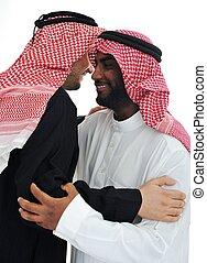 férfiak, két, meleg, arab, gyűlés, birtoklás