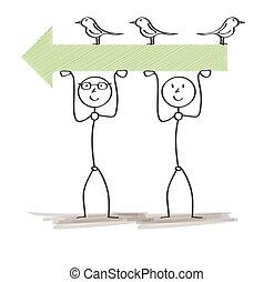 férfiak, két, nyíl, madarak