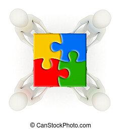 férfiak, rejtvény, jigsaw munkadarab, birtok, együtt, 3