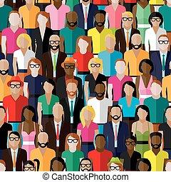 férfiak, women., vektor, motívum, csoport, fla, seamless, nagy