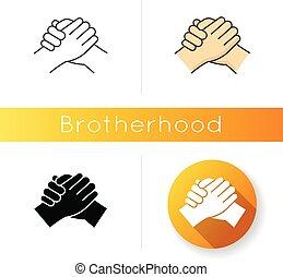 férfiasan, egység, kötvény, icon., fellowship., férfiak, rgb, barátság, vektor, interpersonal, elszigetelt, között, styles., lineáris, fekete, szín, togetherness, kézfogás, ábra, erős, testvériség