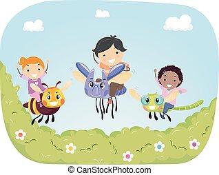 férgek, lovagol, gyerekek, stickman, kert