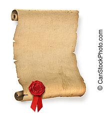 fóka, öreg, pergament, piros, viasz