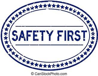 fóka, biztonság első, grunge, bélyeg, szó, blue háttér, ovális, gumi, fehér