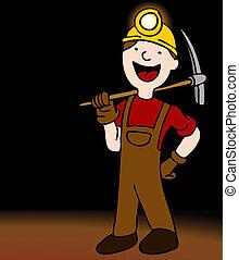 föld alatti, bányász, betű, karikatúra