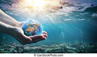 földdel feltölt, birtok, hulladék, pollution-, kézbesít, műanyag, óceán, környezet, -