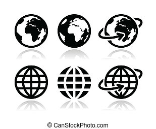 földdel feltölt földgolyó, vektor, állhatatos, ikonok