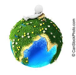 földdel feltölt, fehér, 3, zöld, emberek