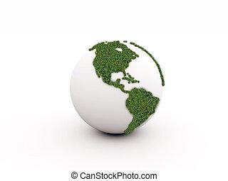 földdel feltölt, fehér, zöld, elszigetelt, háttér