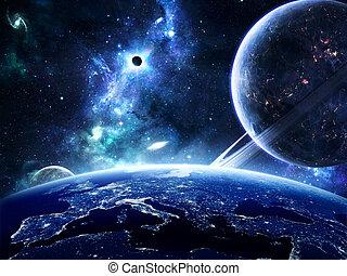 földdel feltölt, felszín, bolygók, mindenfelé