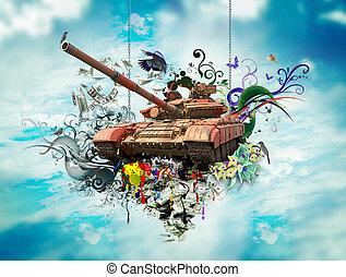 földdel feltölt, fogalom, béke, háttér