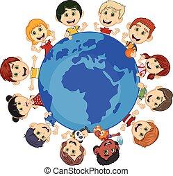 földdel feltölt, gyerekek, mindenfelé, karikatúra