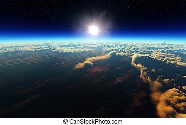 földdel feltölt, külső, napkelte, hely