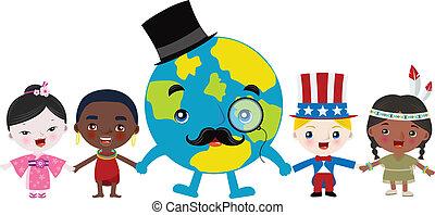 földdel feltölt, multicultural, gyerekek