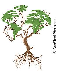 földdel feltölt, zöld fa
