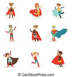 földfok, superhero, betűk, öltözött, jelmezbe öltöztet, maszk, bír, gyűjtés, igénylés, mosolygós, szuper, gyerekek, energiák