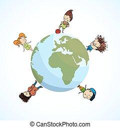 földgolyó, ábra, vektor, csoport, gyerekek