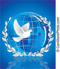 földgolyó, béke, galamb
